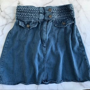 Free People blue braided baby mini skirt size 0